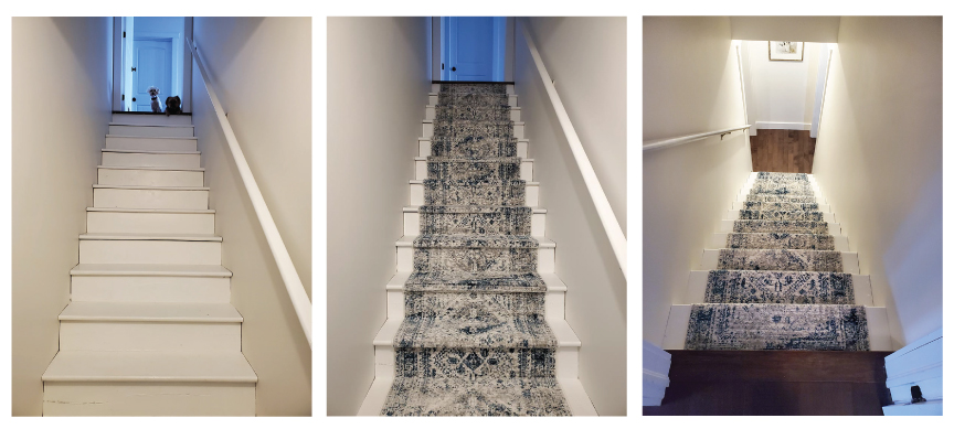 Before and after DIY stair runner