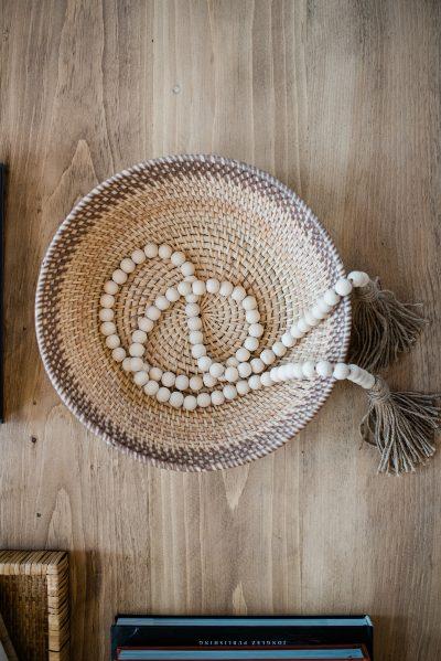 Wood bead garland with tassels